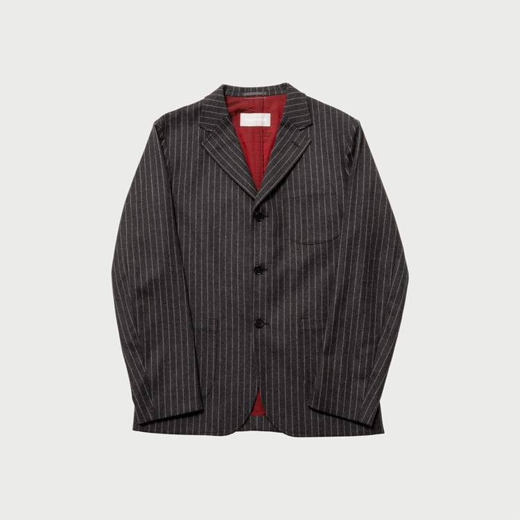 wool striped 3B jacket